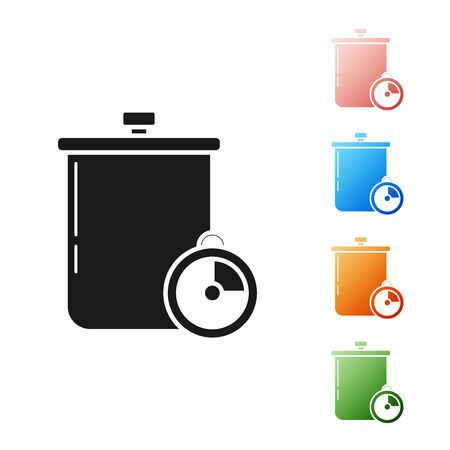 Black Cooking pot and kitchen timer icon isolated on white background. Boil or stew food symbol. Set icons colorful. Vector Illustration Ilustração