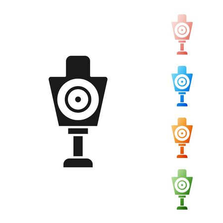 Black Human target sport for shooting icon isolated on white background. Clean target with numbers for shooting range or shooting. Set icons colorful. Vector Illustration
