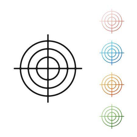 Black Target sport for shooting competition icon isolated on white background. Clean target with numbers for shooting range or shooting. Set icons colorful. Vector Illustration Vettoriali