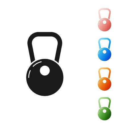 Black Kettlebell icon isolated on white background. Set icons colorful. Vector Illustration Illustration