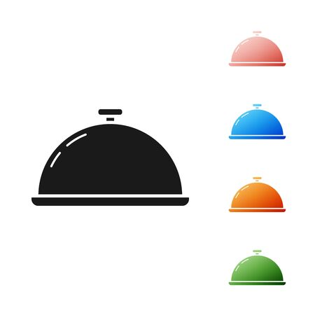 Black Covered with a tray of food icon isolated on white background. Tray and lid sign. Restaurant cloche with lid. Kitchenware symbol. Set icons colorful. Vector Illustration
