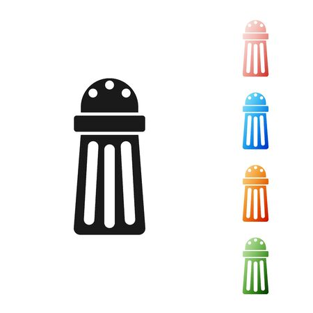 Black Salt icon isolated on white background. Cooking spices. Set icons colorful. Vector Illustration