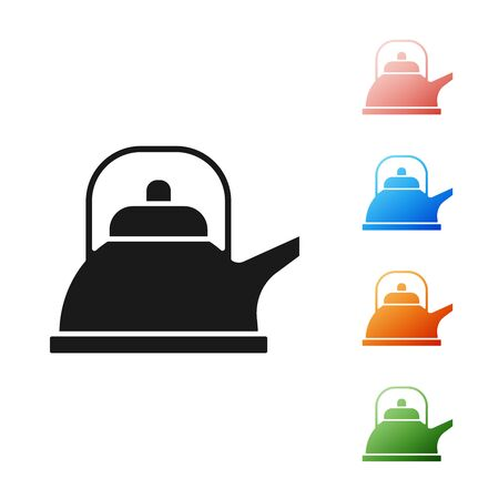 Black Kettle with handle icon isolated on white background. Teapot icon. Set icons colorful. Vector Illustration