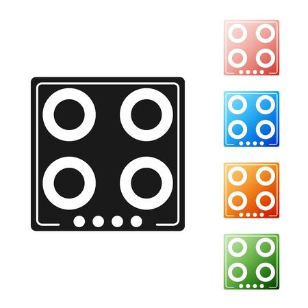 Black Gas stove icon isolated on white background. Cooktop sign. Hob with four circle burners. Set icons colorful. Vector Illustration
