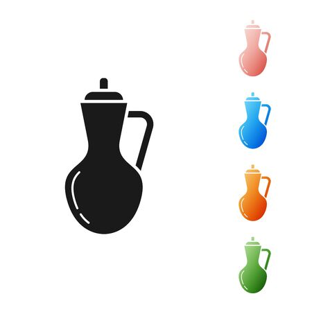 Black Bottle of olive oil icon isolated on white background. Jug with olive oil icon. Set icons colorful. Vector Illustration