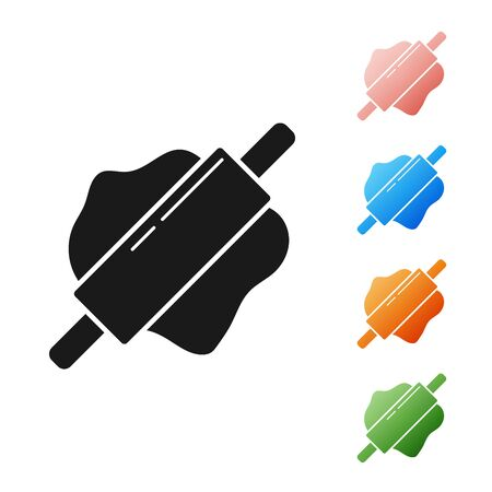 Black Rolling pin icon isolated on white background. Set icons colorful. Vector Illustration