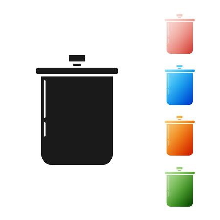 Black Cooking pot icon isolated on white background. Boil or stew food symbol. Set icons colorful. Vector Illustration Ilustração