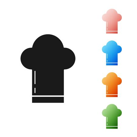 Black Chef hat icon isolated on white background. Cooking symbol. Cooks hat. Set icons colorful. Vector Illustration Ilustrace