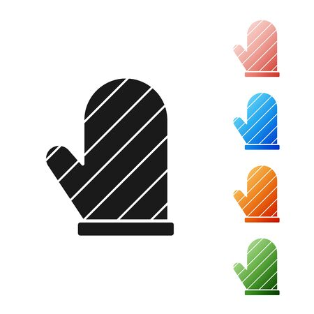 Black Oven glove icon isolated on white background. Kitchen potholder sign. Cooking glove. Set icons colorful. Vector Illustration