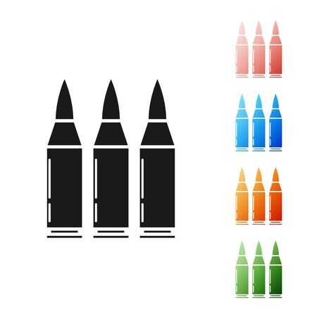 Black Bullet icon isolated on white background. Set icons colorful. Vector Illustration Ilustrace