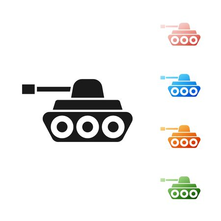 Black Military tank icon isolated on white background. Set icons colorful. Vector Illustration
