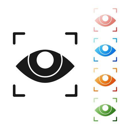 Icona di scansione dell'occhio nero isolato su priorità bassa bianca. Occhio di scansione. Simbolo di controllo di sicurezza. Segno dell'occhio informatico. Impostare icone colorate. illustrazione vettoriale