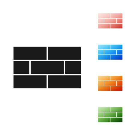 Black Bricks icon isolated on white background. Set icons colorful. Vector Illustration