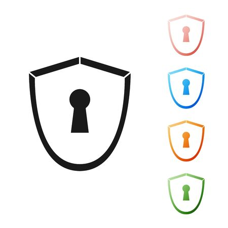 Black Shield with keyhole icon isolated on white background. Protection, security concept. Safety badge icon. Privacy banner. Defense tag. Set icons colorful. Vector Illustration