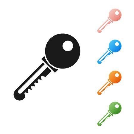 Black Key icon isolated on white background. Set icons colorful. Vector Illustration Ilustração
