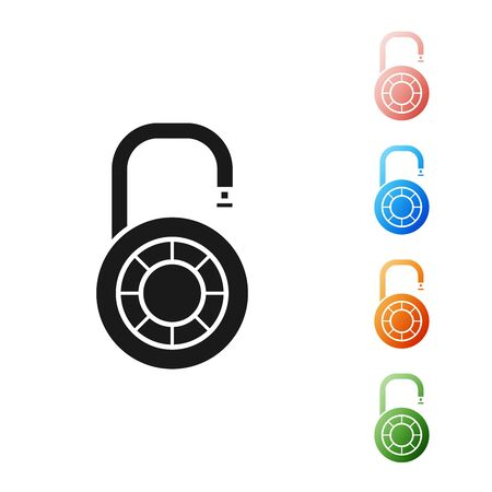 Black Safe combination lock wheel icon isolated on white background. Combination padlock. Security, safety, protection, password, privacy. Set icons colorful. Vector Illustration