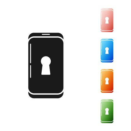 Black Smartphone with lock icon isolated on white background. Phone with lock. Mobile security, safety, protection concept. Set icons colorful. Vector Illustration