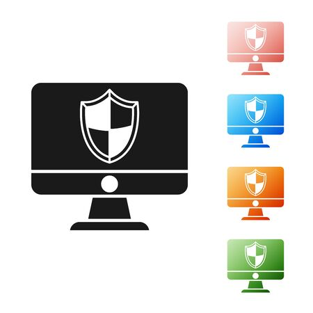 Black Computer monitor and shield icon isolated on white background. Security, firewall technology, internet privacy safety or antivirus. Set icons colorful. Vector Illustration Ilustrace