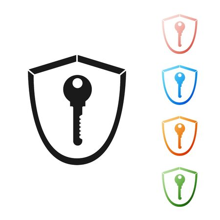 Black Shield with key icon isolated on white background. Protection and security concept. Safety badge icon. Privacy banner. Defense tag. Set icons colorful. Vector Illustration