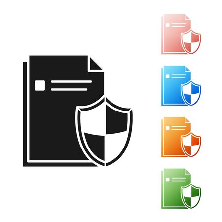 Black Document protection concept icon isolated on white background. Confidential information and privacy idea, secure, guard, shield. Set icons colorful. Vector Illustration Ilustrace