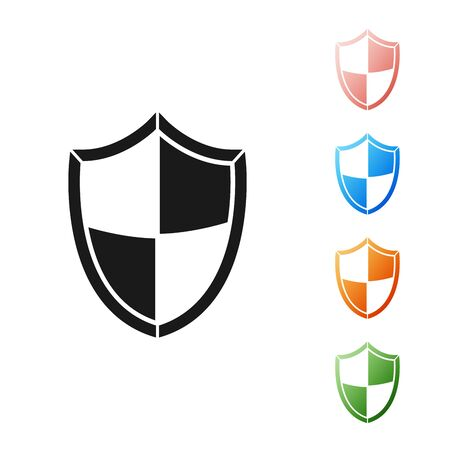 Black Shield icon isolated on white background. Guard sign. Security, safety, protection, privacy concept. Set icons colorful. Vector Illustration