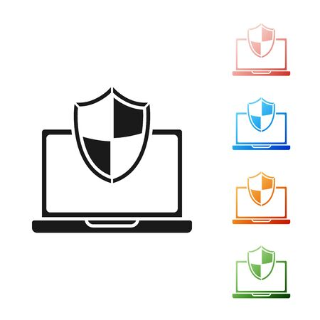Black Laptop protected with shield icon isolated on white background. PC security, firewall technology, privacy safety. Set icons colorful. Vector Illustration