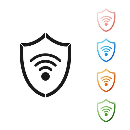 Black Shield with WiFi wireless internet network symbol icon isolated on white background. Protection safety concept. Set icons colorful. Vector Illustration Vectores