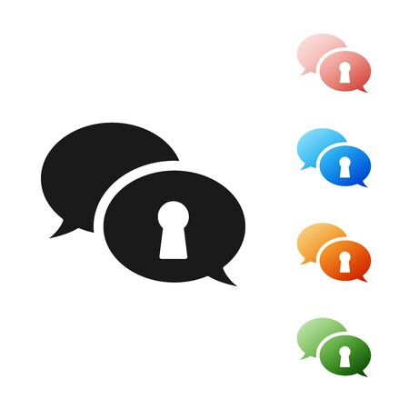 Black Protection of personal data icon isolated on white background. Speech bubble and key. Set icons colorful. Vector Illustration Ilustrace