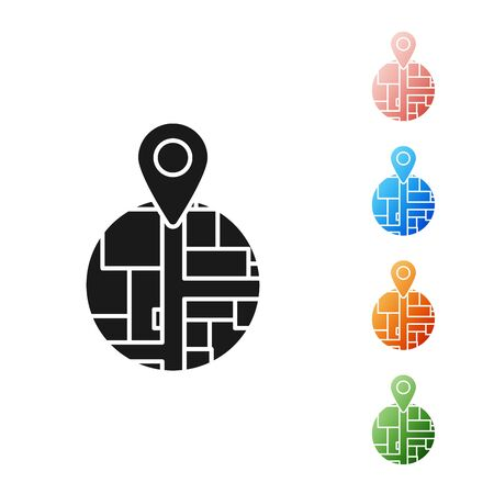 Black Placeholder on map paper in perspective icon isolated on white background. Set icons colorful. Vector Illustration
