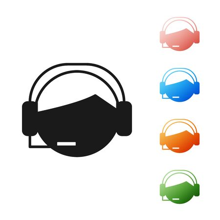 Black Man with a headset icon isolated on white background. Support operator in touch. Concept for call center, client support service. Set icons colorful. Vector Illustration Ilustrace