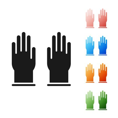 Black Rubber gloves icon isolated on white background. Latex hand protection sign. Housework cleaning equipment symbol. Set icons colorful. Vector Illustration Çizim