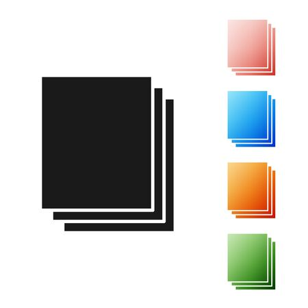 Black Clean paper icon isolated on white background. File icon. Checklist icon. Business concept. Set icons colorful. Vector Illustration Ilustração