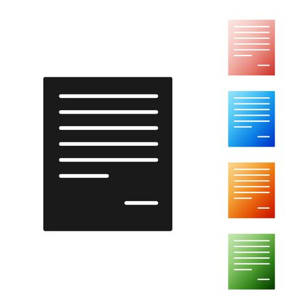 Black Document icon isolated on white background. File icon. Checklist icon. Business concept. Set icons colorful. Vector Illustration