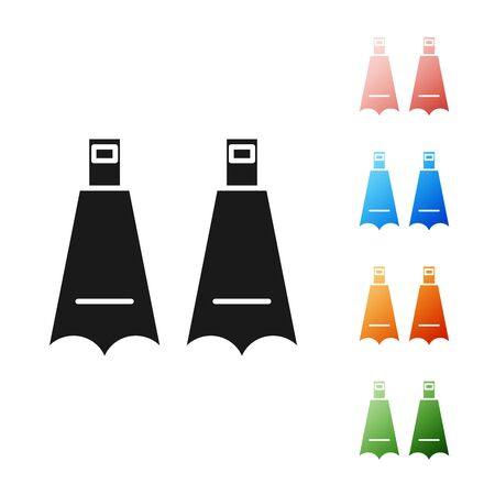 Black Rubber flippers for swimming icon isolated on white background. Diving equipment. Extreme sport. Diving underwater equipment. Set icons colorful. Vector Illustration
