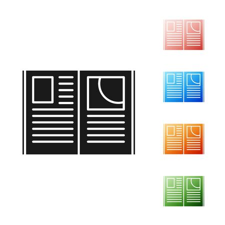 Black Open book icon isolated on white background. Set icons colorful. Vector Illustration