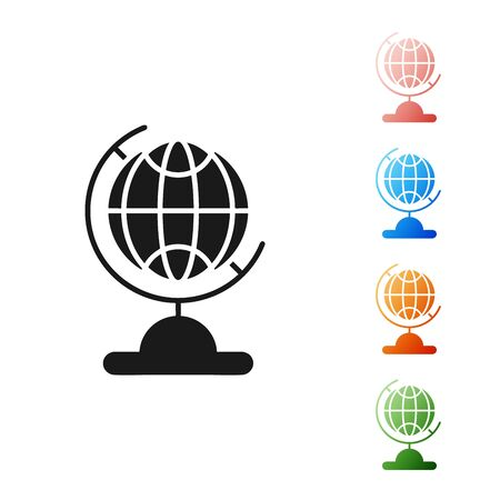 Black Earth globe icon isolated on white background. Set icons colorful. Vector Illustration