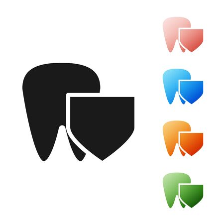 Black Tooth with shield icon isolated on white background. Dental insurance. Security, safety, protection, protect concept. Set icons colorful. Vector Illustration