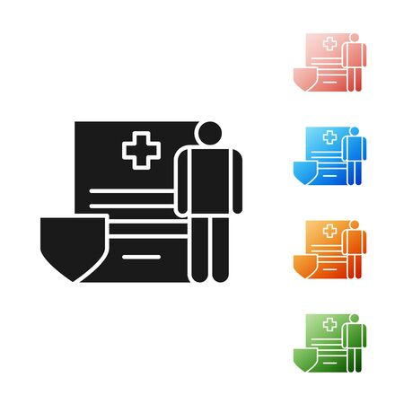 Black Medical clipboard with clinical record icon isolated on white background. Health insurance form. Prescription, medical check marks report. Set icons colorful. Vector Illustration