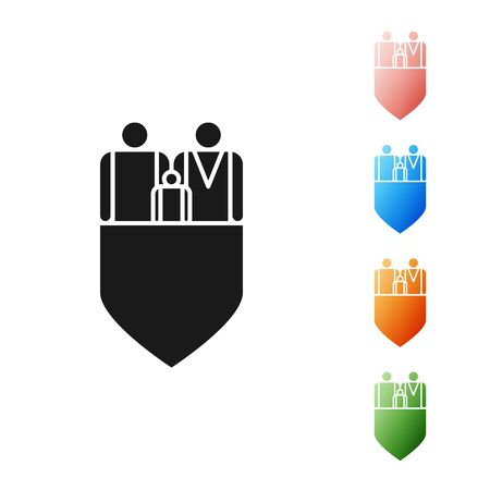 Black Family insurance with shield icon isolated on white background. Security, safety, protection, protect concept. Set icons colorful. Vector Illustration