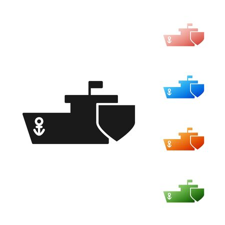 Black Ship with shield icon isolated on white background. Insurance concept. Security, safety, protection, protect concept. Set icons colorful. Vector Illustration