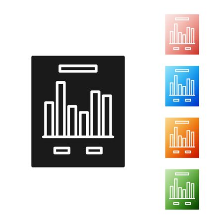 Black Document with graph chart icon isolated on white background. Report text file icon. Accounting sign. Audit, analysis, planning. Set icons colorful. Vector Illustration 스톡 콘텐츠 - 131395735
