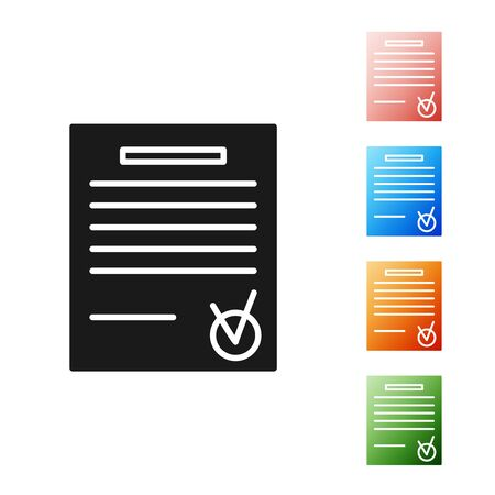 Black Confirmed document and check mark icon isolated on white background. Checklist icon. Business concept. Set icons colorful. Vector Illustration 스톡 콘텐츠 - 131396523