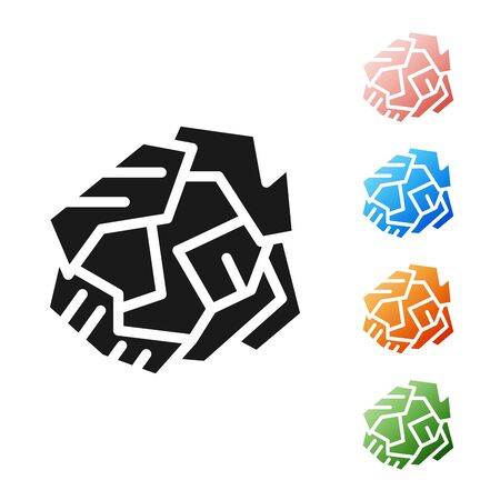 Black Crumpled paper ball icon isolated on white background. Set icons colorful. Vector Illustration Vettoriali