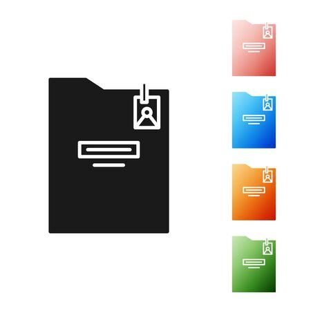 Black Personal folder icon isolated on white background. Set icons colorful. Vector Illustration Illustration