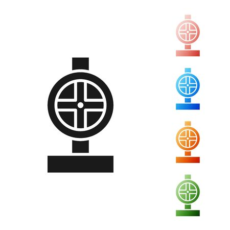 Black Industry metallic pipes and valve icon isolated on white background. Set icons colorful. Vector Illustration