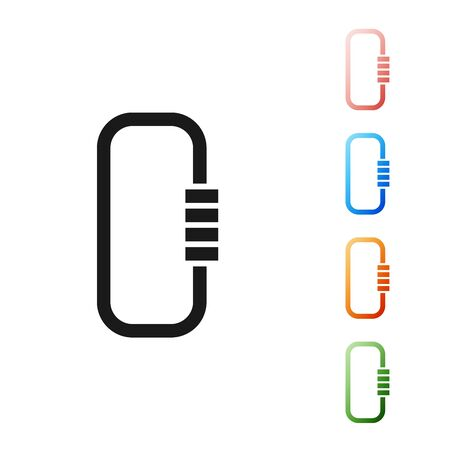 Black Carabiner icon isolated on white background. Extreme sport. Sport equipment. Set icons colorful. Vector Illustration