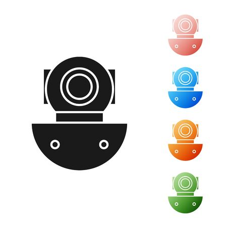 Black Aqualung icon isolated on white background. Diving helmet. Diving underwater equipment. Set icons colorful. Vector Illustration