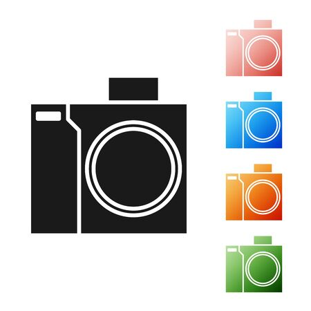 Black Photo camera for diver icon isolated on white background. Foto camera icon. Diving underwater equipment. Set icons colorful. Vector Illustration