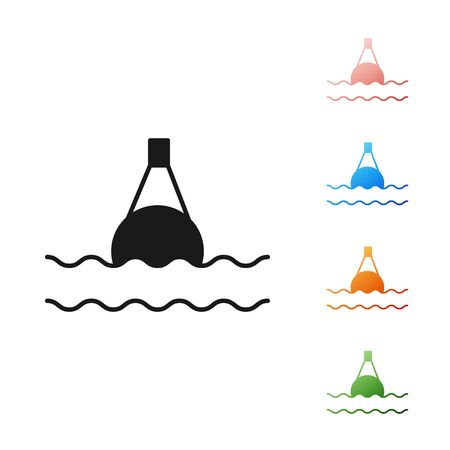 Black Floating buoy on the sea icon isolated on white background. Set icons colorful. Vector Illustration 向量圖像