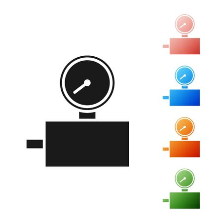 Black Gauge scale icon isolated on white background. Satisfaction, temperature, manometer, risk, rating, performance, speed tachometer. Set icons colorful. Vector Illustration Illustration
